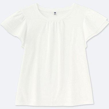 GIRLS RUFFLE SHORT-SLEEVE T-SHIRT, WHITE, medium