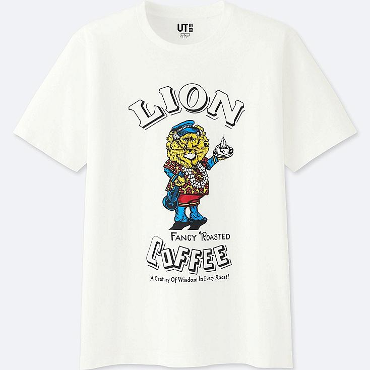 MEN THE BRANDS SHORT-SLEEVE GRAPHIC T-SHIRT (LION COFFEE) (ONLINE EXCLUSIVE), WHITE, large