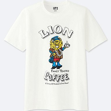 MEN THE BRANDS SHORT-SLEEVE GRAPHIC T-SHIRT (LION COFFEE) (ONLINE EXCLUSIVE), WHITE, medium