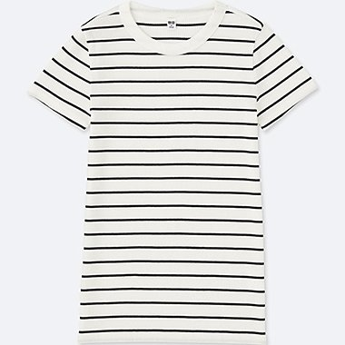 WOMEN Striped Ribbed Crew Neck T-Shirt