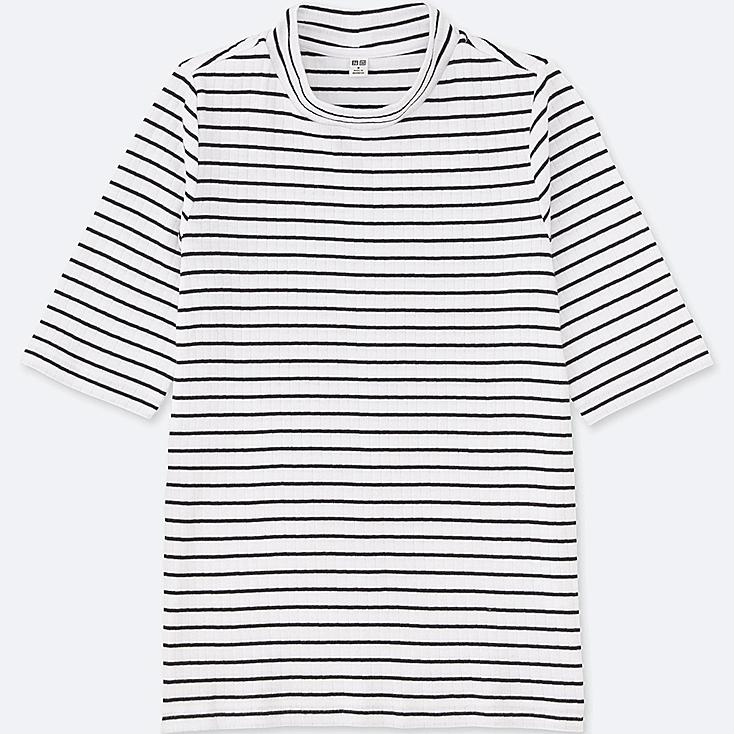 WOMEN Striped Ribbed High Neck Half Sleeve T-Shirt