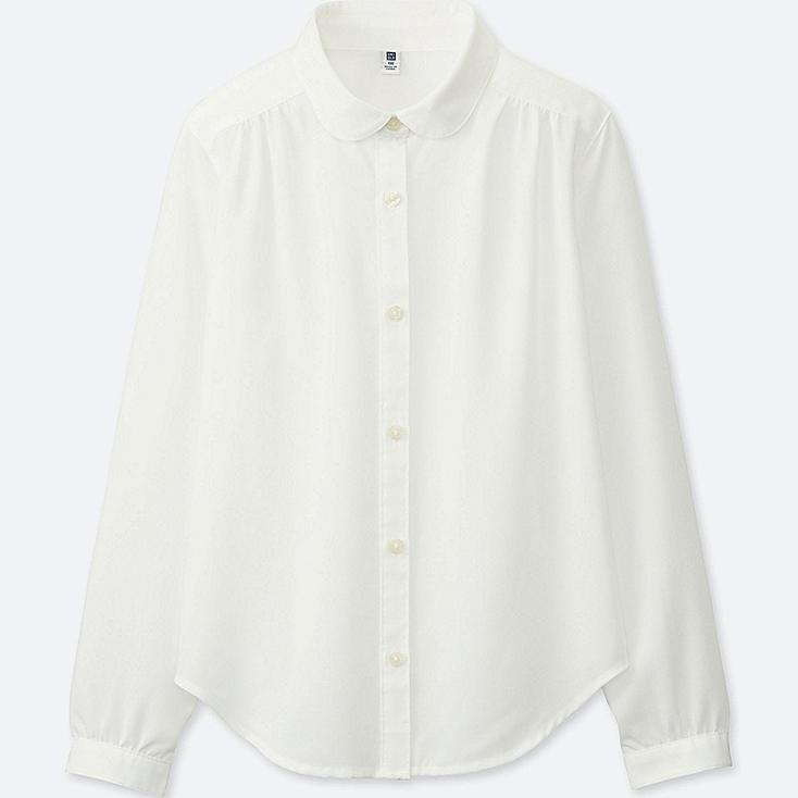 GIRLS RAYON LONG-SLEEVE BLOUSE (ONLINE EXCLUSIVE), WHITE, large