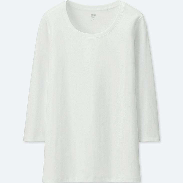 Camiseta manga 3/4 cuello redondo de algodón SUPIMA MUJER