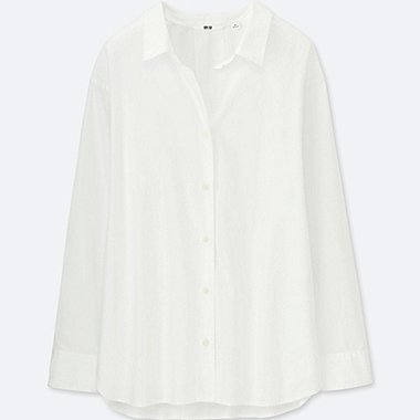 WOMEN EXTRA FINE COTTON LONG-SLEEVE SHIRT, WHITE, medium