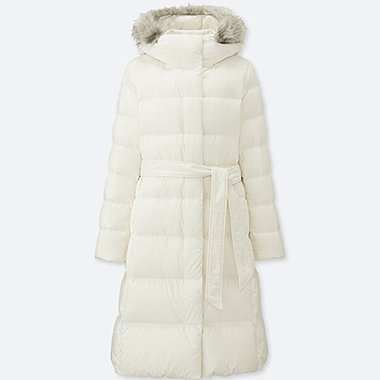 WOMEN LIGHTWEIGHT DOWN HOODED COAT, WHITE, medium