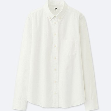 WOMEN OXFORD LONG-SLEEVE SHIRT (ONLINE EXCLUSIVE), WHITE, medium