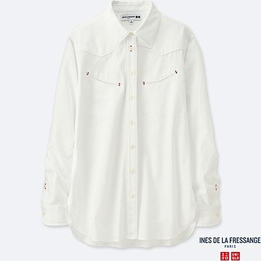 WOMEN INES COTTON TWILL WESTERN LONG SLEEVE SHIRT