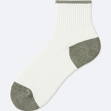 MEN PILE HALF SOCKS, WHITE, medium