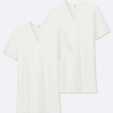 MEN SUPIMA® COTTON V-NECK SHORT-SLEEVE T-SHIRT (SET OF 2), WHITE, medium