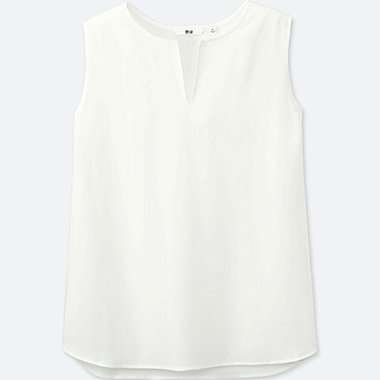 WOMEN RAYON KEY-NECK SLEEVELESS BLOUSE, WHITE, medium
