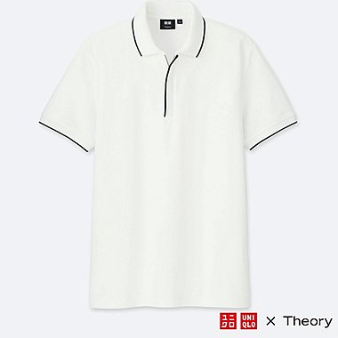 MEN DRY COMFORT SHORT-SLEEVE ZIP POLO SHIRT (THEORY), WHITE, medium