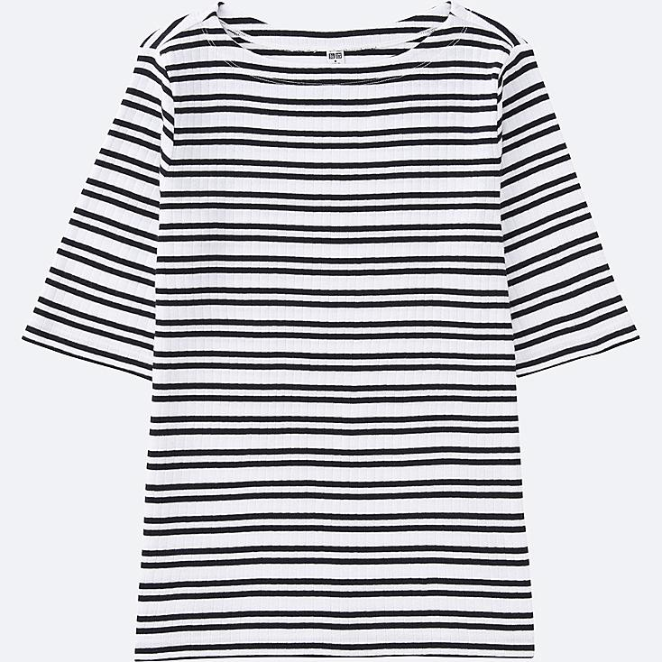WOMEN STRIPED RIBBED BOAT NECK HALF-SLEEVE T-SHIRT, WHITE, large