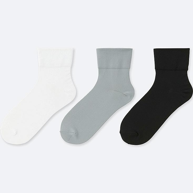 WOMEN TAPER SOCKS (3 PAIRS), WHITE, large