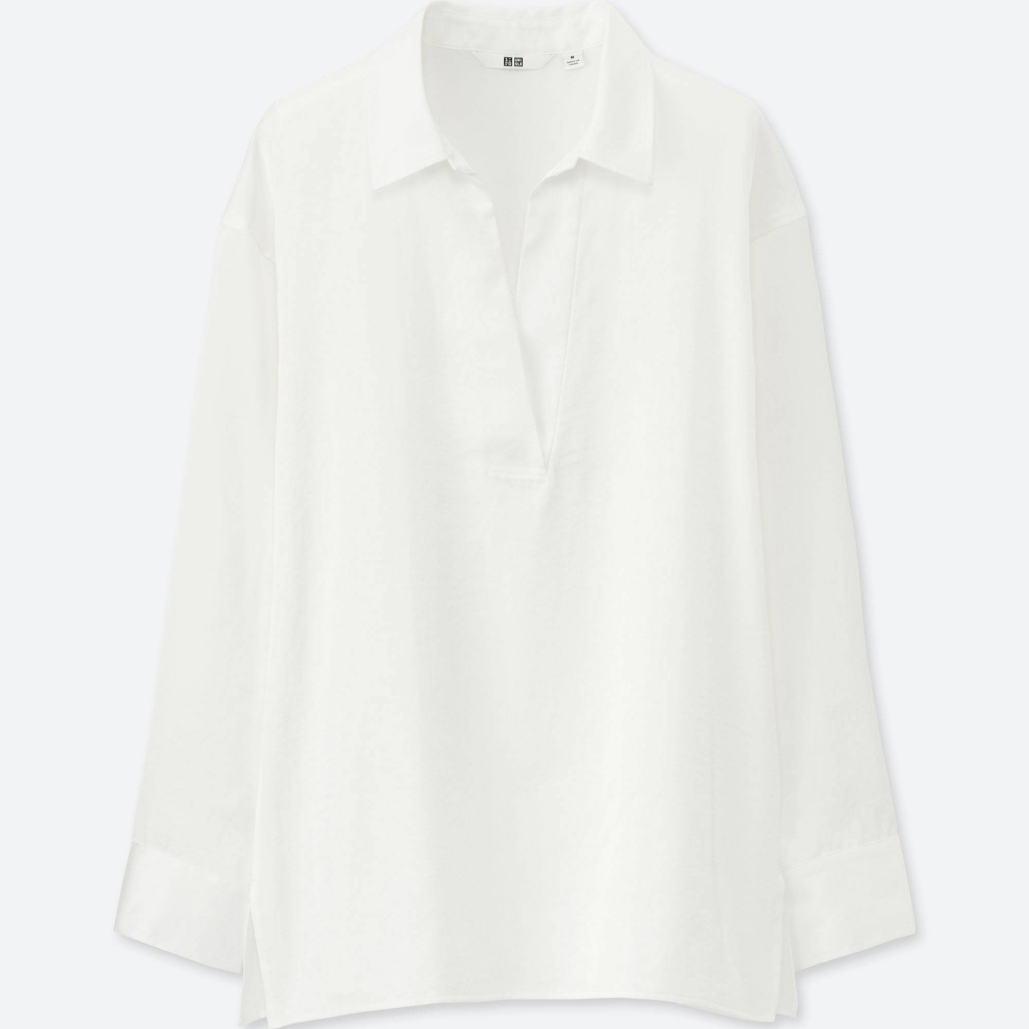 WOMEN SATIN LONG-SLEEVE BLOUSE | UNIQLO US
