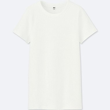 WOMEN SUPIMA® COTTON RIBBED CREW NECK SHORT-SLEEVE T-SHIRT, WHITE, medium