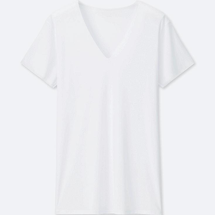 MEN AIRism SEAMLESS V-NECK SHORT-SLEEVE T-SHIRT, WHITE, large