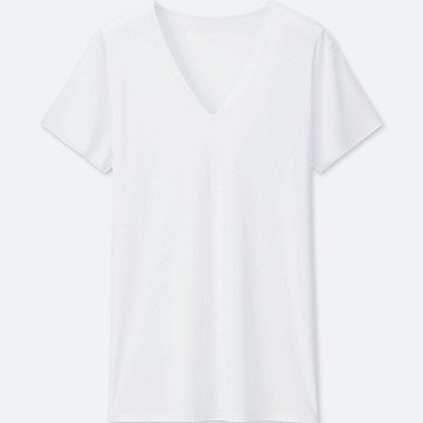 MEN AIRism SEAMLESS V-NECK T-SHIRT, WHITE, medium