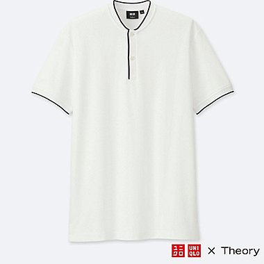 MEN DRY COMFORT STAND COLLAR POLO SHIRT (THEORY), WHITE, medium