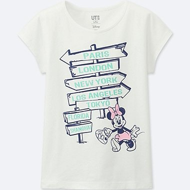 GIRLS MICKEY TRAVELS SHORT-SLEEVE GRAPHIC T-SHIRT, WHITE, medium