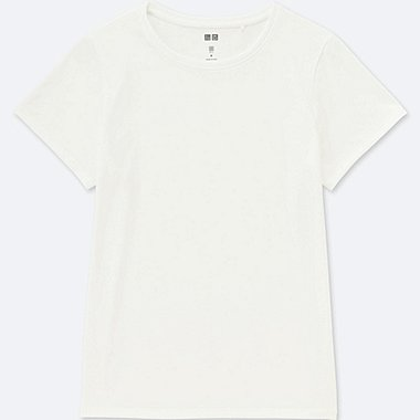 WOMEN DRY-EX CREWNECK SHORT-SLEEVE T-SHIRT, WHITE, medium