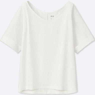 WOMEN AIRism BOXY SHORT-SLEEVE T-SHIRT, WHITE, medium
