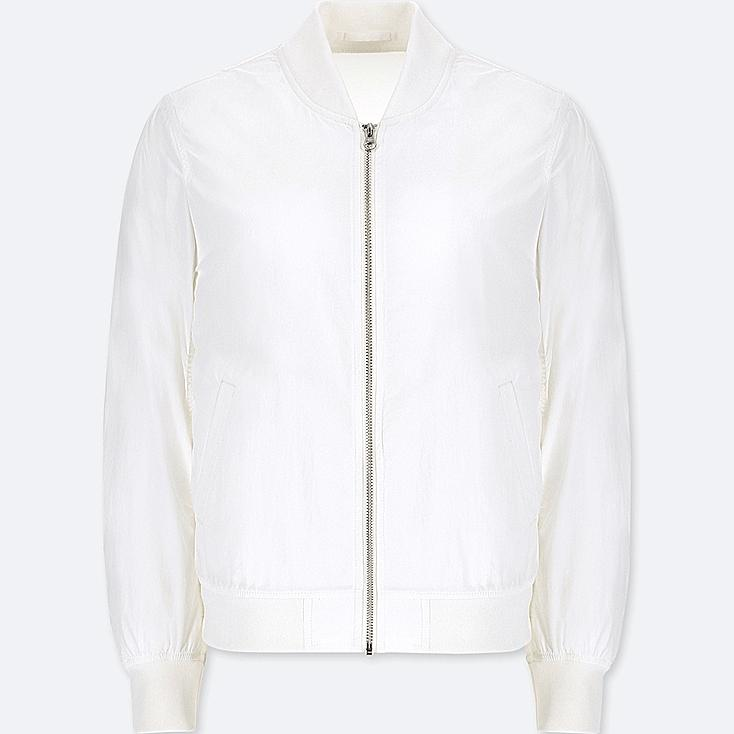 WOMEN BOMBER JACKET, WHITE, large