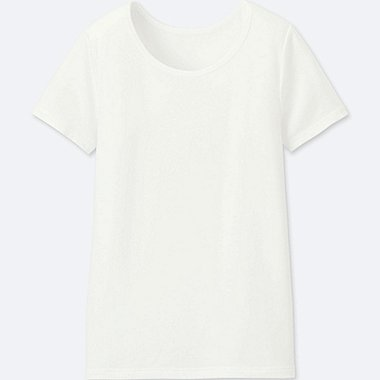 KIDS AIRism U-NECK SHORT-SLEEVE T-SHIRT, WHITE, medium