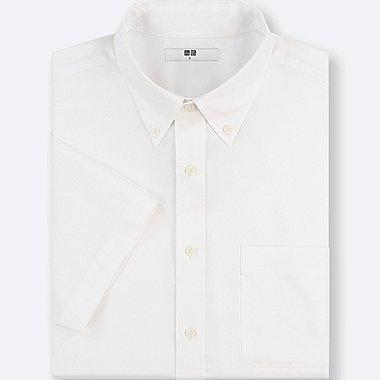 MEN DRY EASY CARE OXFORD SHORT-SLEEVE SHIRT, WHITE, medium