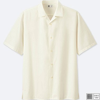 MEN U OPEN COLLAR SHORT-SLEEVE SHIRT, WHITE, medium