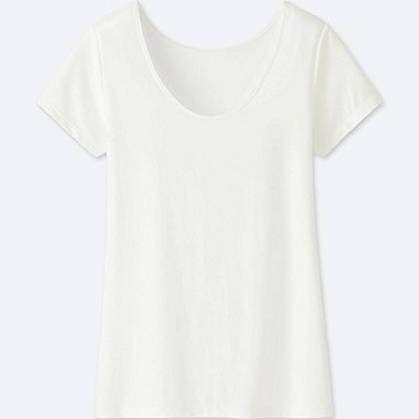 WOMEN AIRism SCOOP NECK SHORT-SLEEVE T-SHIRT, WHITE, medium