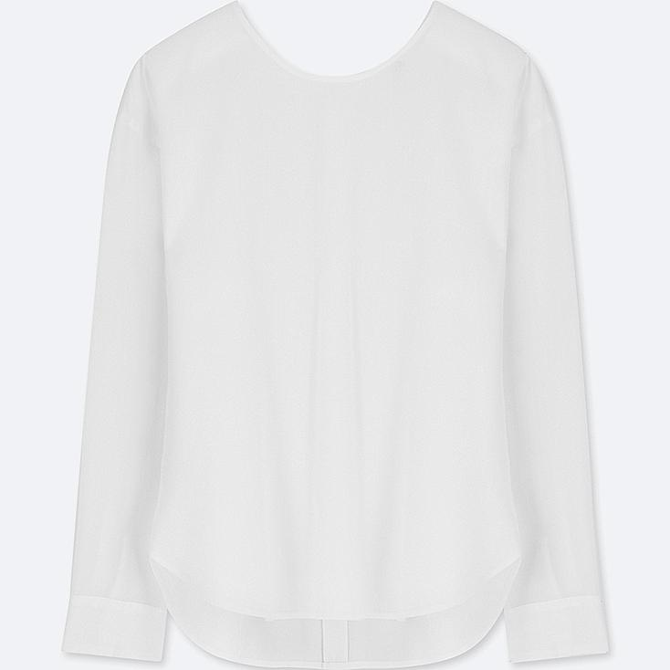 WOMEN RAYON LONG-SLEEVE T-SHIRT BLOUSE, WHITE, large