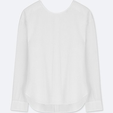 WOMEN RAYON LONG-SLEEVE T-SHIRT BLOUSE, WHITE, medium