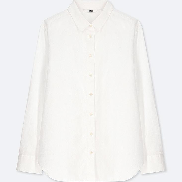 WOMEN SOFT COTTON LONG-SLEEVE SHIRT, WHITE, large