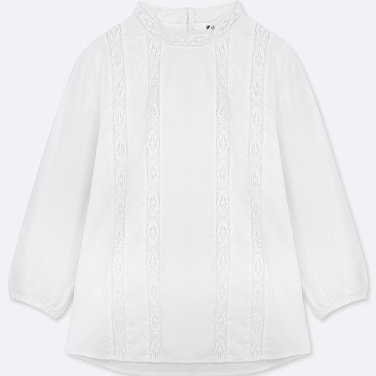 WOMEN SOFT COTTON LACE LONG-SLEEVE BLOUSE, WHITE, large