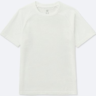 KIDS DRY-EX CREWNECK T-SHIRT, WHITE, medium