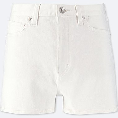 WOMEN HIGH-RISE DENIM VINTAGE SHORTS, WHITE, medium