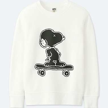 KIDS KAWS X PEANUTS PULLOVER SWEATSHIRT, WHITE, medium
