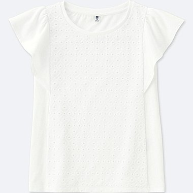 GIRLS Lace Flare Short Sleeve T-Shirt