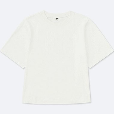 T-SHIRT 100% Coton CROPPED COL ROND MANCHES COURTES FEMME