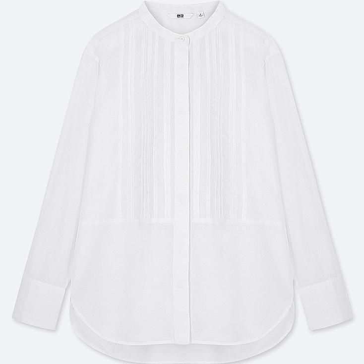 WOMEN SOFT COTTON PIN TUCK LONG-SLEEVE BLOUSE, WHITE, large