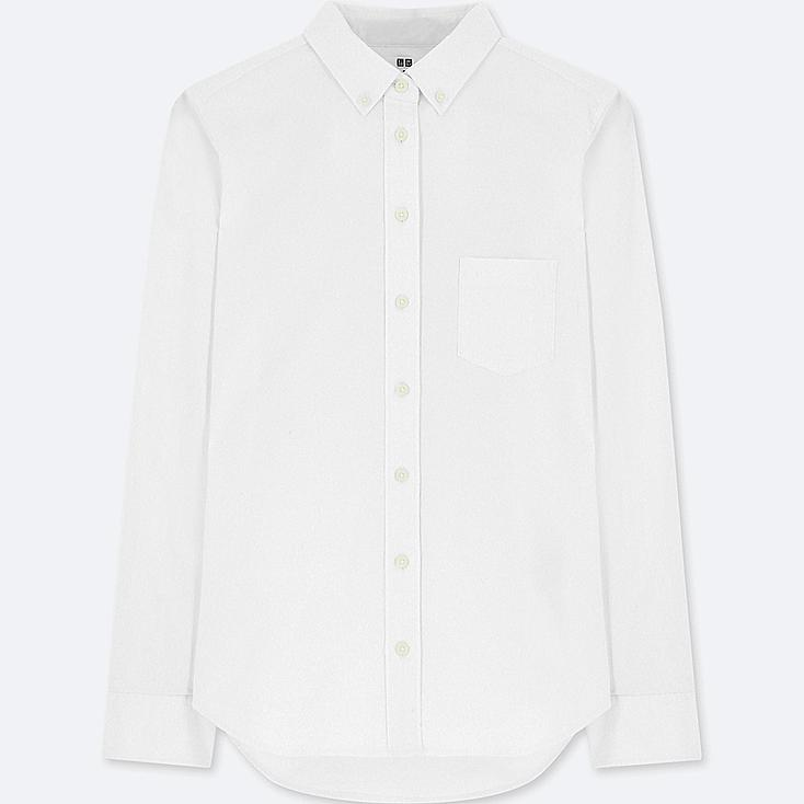 WOMEN OXFORD LONG-SLEEVE SHIRT (ONLINE EXCLUSIVE), WHITE, large