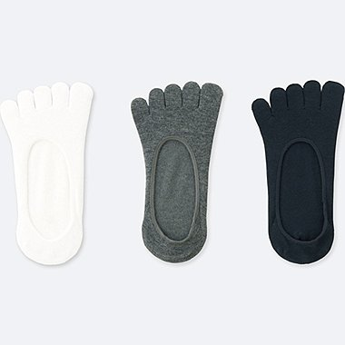 WOMEN FINGER FOOTSIES (3 PAIRS), WHITE, medium