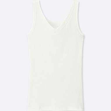 WOMEN SUPIMA® COTTON RIBBED TANK TOP, WHITE, medium