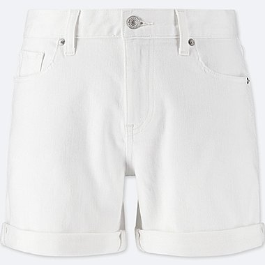 WOMEN DENIM BOYFRIEND SHORTS, WHITE, medium