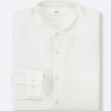 MEN LINEN COTTON STAND COLLAR SHIRT