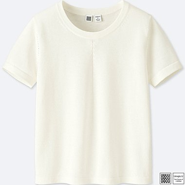 WOMEN UNIQLO U 100% COTTON SMALL FIT SHORT SLEEVE SWEATER
