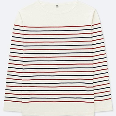 MEN WASHED STRIPED LONG-SLEEVE T-SHIRT, WHITE, medium