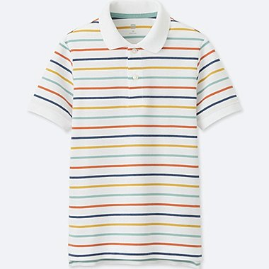 BOYS DRY PIQUE STRIPED SHORT-SLEEVE POLO SHIRT, WHITE, medium