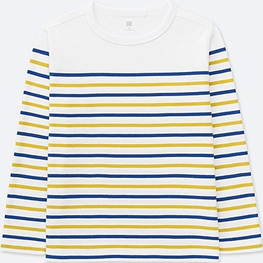 KIDS STRIPED CREWNECK LONG-SLEEVE T-SHIRT, WHITE, medium