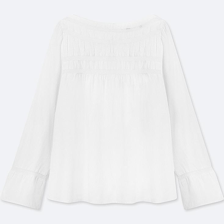 WOMEN SOFT COTTON LACE LONG-SLEEVE T-SHIRT BLOUSE, WHITE, large